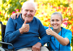 nurse and old man showing their thumb up
